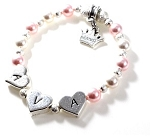 Sweetheart Swarovski Pearls Personalized Heart Bracelet