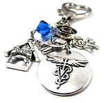 Veterinarian - Personalized Key chain or Purse Charm with Swarovski Crystal ~ Pets
