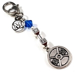 Weight Plate & Dumbbell Gym Keytag Charm or Zipper Pull with Swarovski Birthstone Crystal