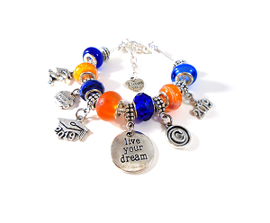 Custom & Personalized Class of 2018 / Class of 2019 Graduation Snake Chain Charm Bracelet with School Colors !