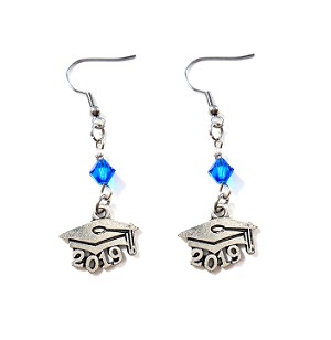 Class of 2018 / Class of 2019 Graduation Cap Earrings with Swarovski Birthstone Crystal
