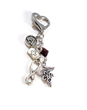Personalized CNA Purse Charm or Key Chain with Swarovski Birthstone Crystal