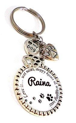 "Personalized Key chain, Leash/Purse Charm ~ Doggy Parents ""Love is wet noses, sloppy kisses & wagging tails"""