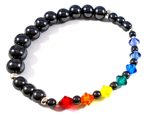 PRIDE - Graduated Hematite Beads and Swarovski Crystals 'RAINBOW' Bracelet