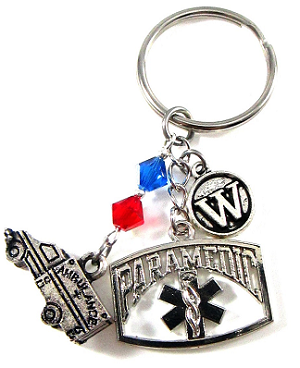 Paramedic - Personalized Paramedic Purse Charm or Keychain with Swarovski Crystals